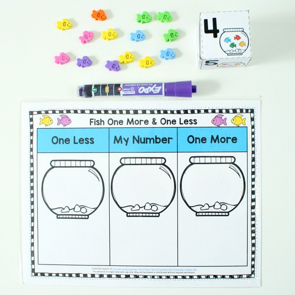 dry erase one more one less math activity-fish theme or ocean theme for preschool or kindergarten