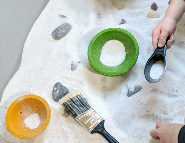 Sand Sensory Bin with Loose Parts