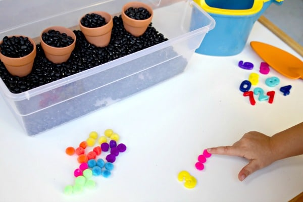 Preschool Spring Math-Counting Seeds
