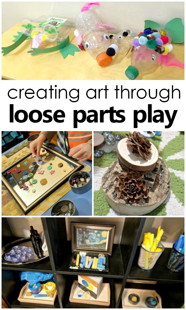 Combining loose part play and art in preschool #loosepartsplay #artprojects #kidsactivities #preschool