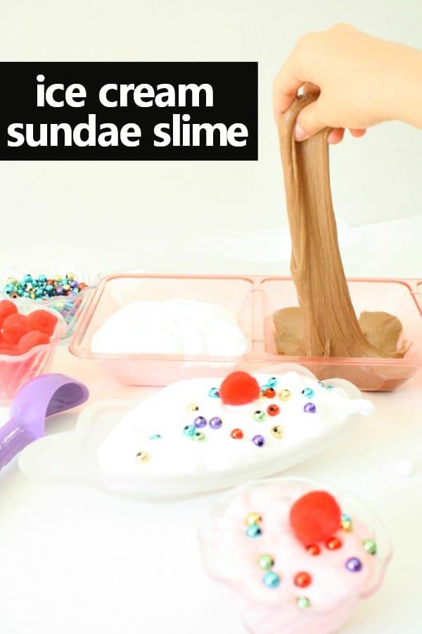 Ice cream sundae fluffy slime recipe fantastic fun learning how to make ice cream fluffy slime ice cream sensory play for kids kidsactivities ccuart Gallery