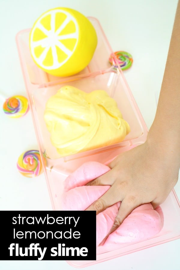 How to make strawberry lemonade fluffy slime recipe #slime #sensory #kidsactivities