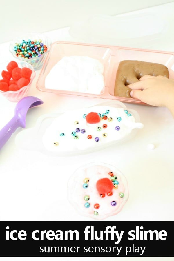 Ice Cream Fluffy Slime Recipe-Summer Sensory Play #icecream #slime #sensory #summer