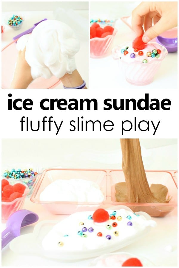 Ice Cream Sundae Fluffy Slime Play and Slime Recipes for Kids-Make your own vanilla slime, chocolate slime, and strawberry slime for ice cream pretend play