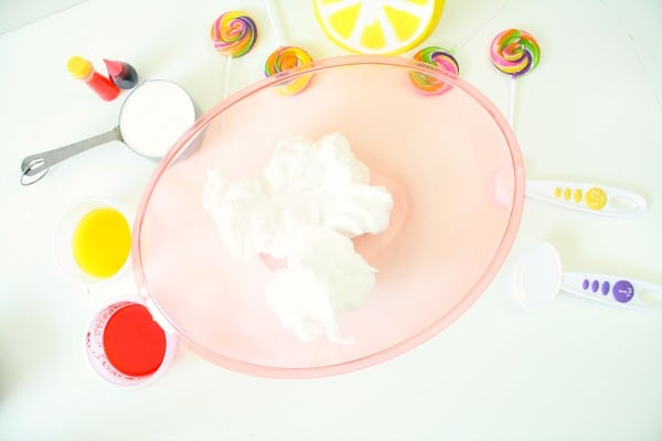 Ingredients for Strawberry Lemonade Fluffy Slime