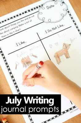 July Writing Journal Prompts for Preschool and Kindergarten-Fun summer theme writing ideas #preschool #kinder #kindergarten
