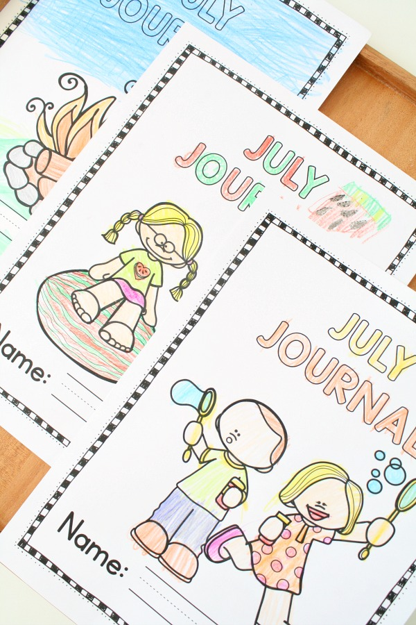 July Writing Journal Prompts for Preschool and Kindergarten