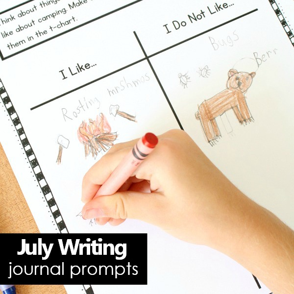 July Writing Prompts for Preschool and Kindergarten