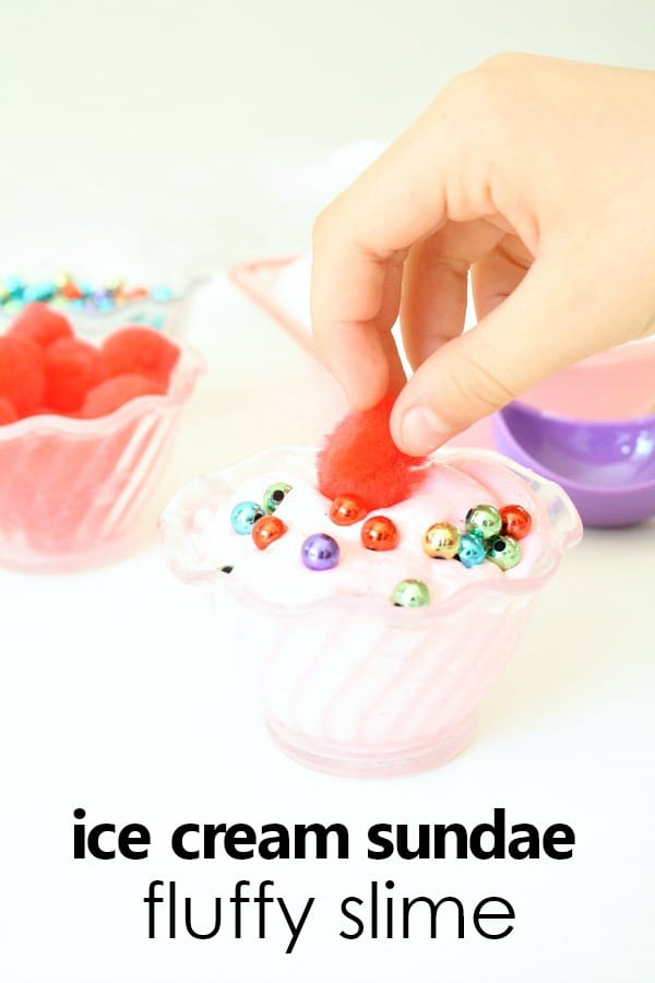 Strawberry Ice Cream Sunday Fluffy Slime Recipe for Kids #slime #preschool #kids #summer