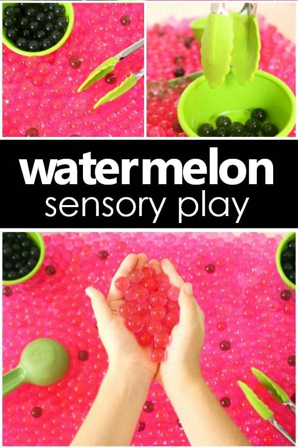 Watermelon Sensory Play -Water Bead Summer Sensory Activity for Preschoolers #kidsactivities #summer #prek #earlychildhood