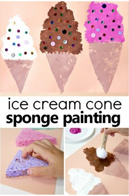 Sponge Painted Ice Cream Cone Summer Art Project