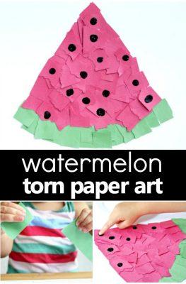 Torn Paper Watermelon Craft for Kids-Summer art project and fine motor activity for watermelon theme fun! #preschool #kidsactivities #craftsforkids #watermelon