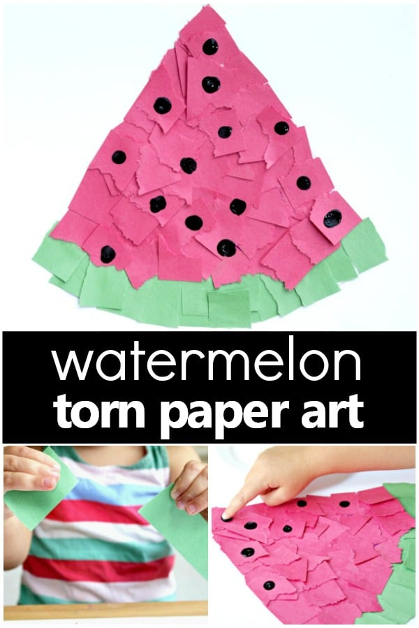 Torn Paper Watermelon Craft Fantastic Fun Learning