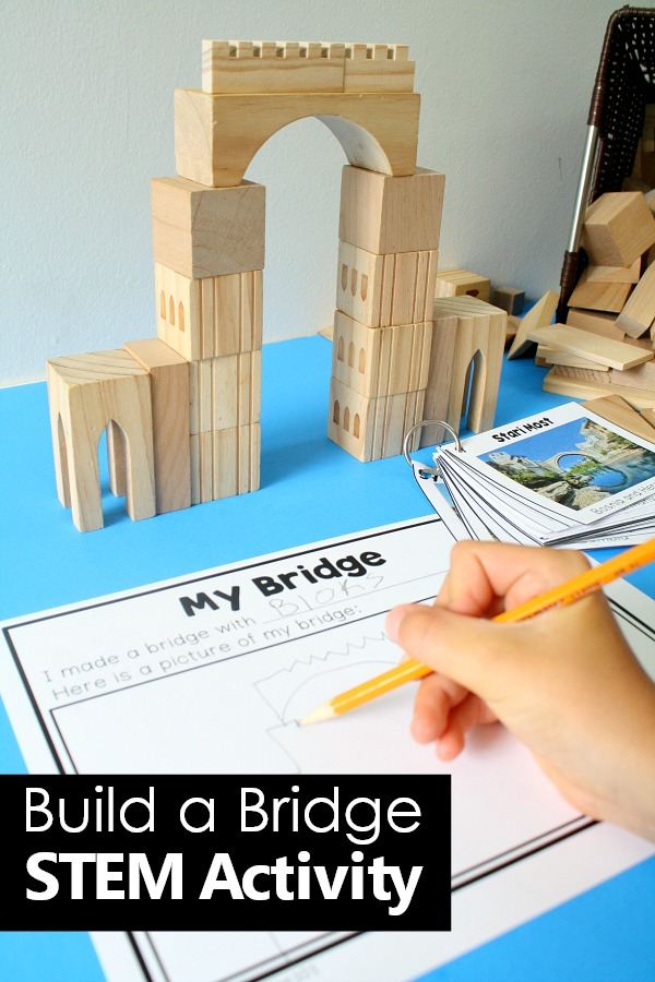 Build A Bridge STEM Activity for Kids -Try a sample for free #preschool #STEM #freeprintable #freebie