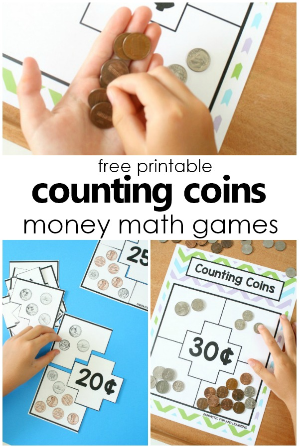 Free Printable Counting Coins Money Games #freeprintable #firstgrade #money