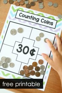 Free Printable Money Game for Kids-Counting Sets of Coins #freebie #math #1stgrade
