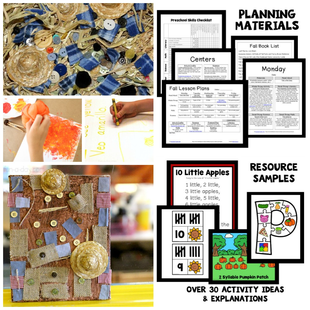 Fall theme activities and printable fall lesson plans for preschool and pre-k
