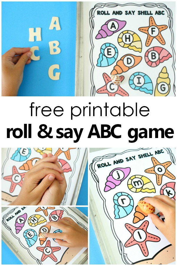 Summer Alphabet Game Freebie-Practice letters or sounds with this free printable summer roll and say abc game for preschoolers and kindergarteners #freebie #summer #prek #kindergarten