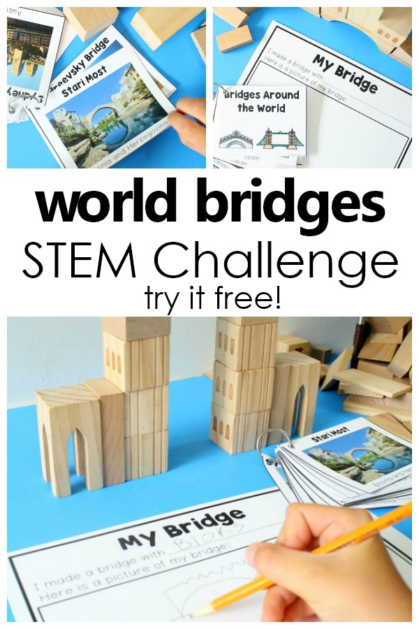 World Bridges STEM Challenge Set-Fun STEM activity for preschool and kindergarten. Use in block center, STEM area, or as a group challenge #preschool #kindergarten #STEM #freeprintable
