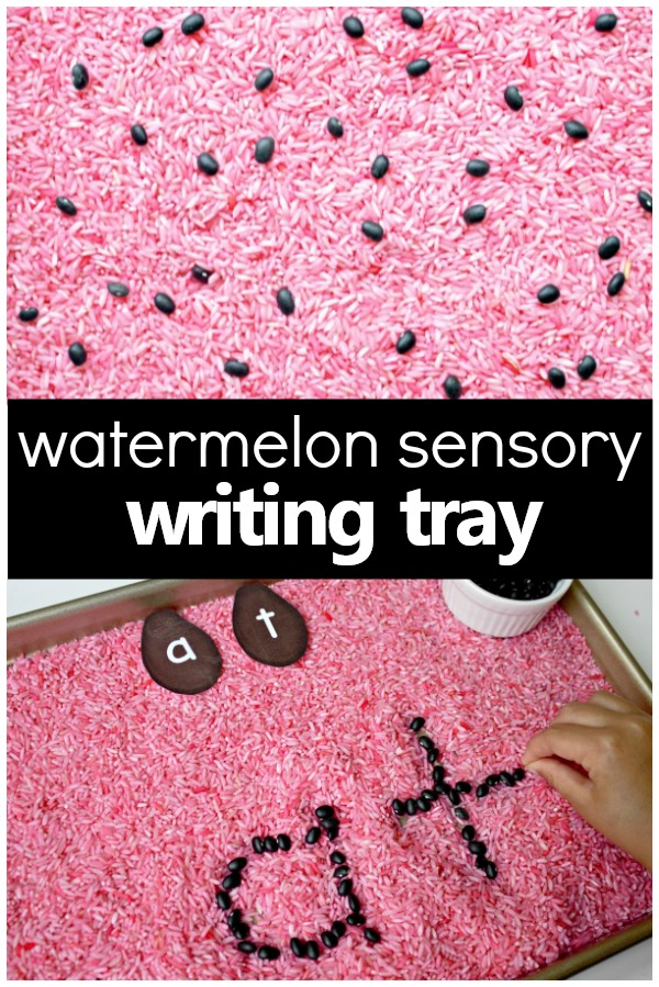 Watermelon Sensory Writing Tray-Letter writing and sight word practice for preschool and kindergarten watermelon theme #preschool #alphabet #sensoryactivities