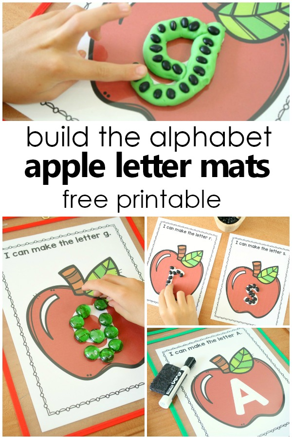 Build the Alphabet Apple ABC Letter Mats Free Printable Pre-Writing Activities for Preschool and Kindergarten Apple Theme Literacy Center Activities #preschool #kindergarten #alphabet