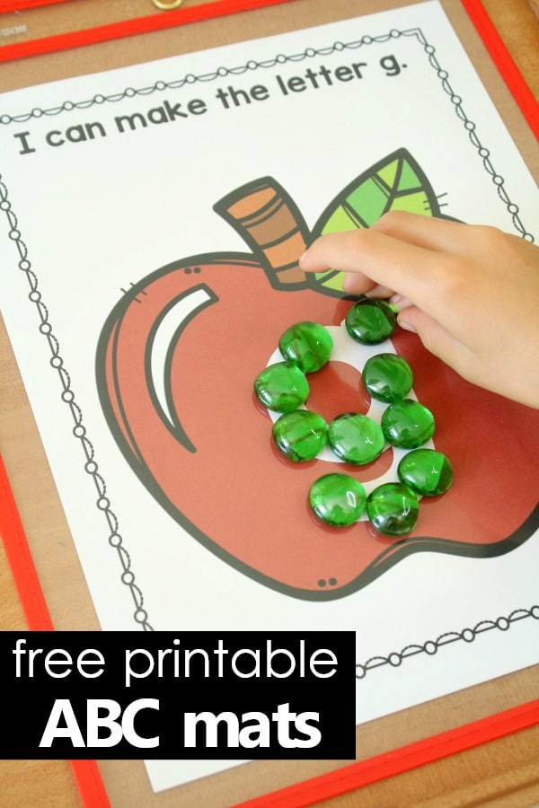 Building Letters Alphabet Mats-Free Printable Apple Theme Activity for Preschool and Kindergarten #alphabet #preschool #freebie
