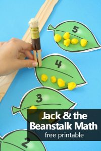 Free printable Jack and the Beanstalk Math Number Games...practice counting, making sets, and comparing numbers with this hands-on printable for preschool and kindergarten #preschool #kindergarten #freeprintable