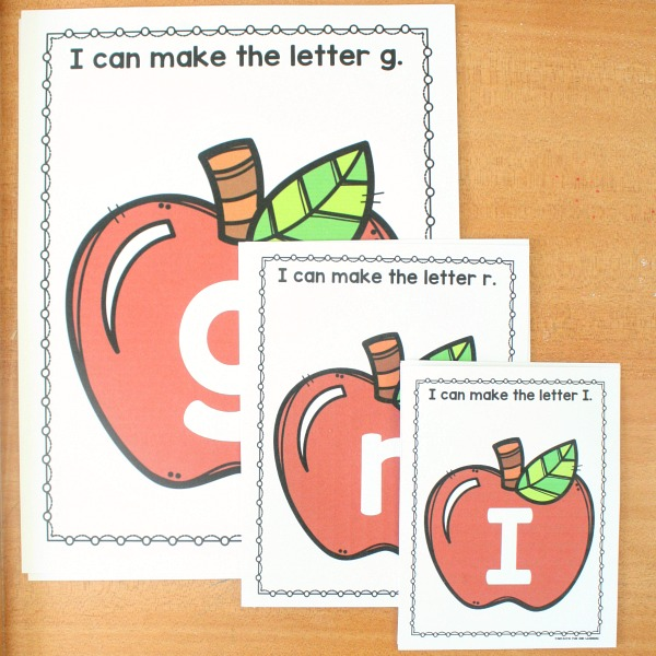 Free Printable Apple Theme ABC Letter Mats for Preschool and Kindergarten