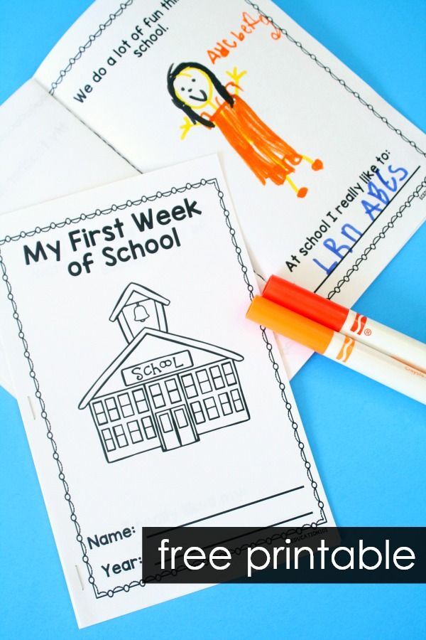 Free Printable First Week of School Memory Book with First Day of School writing activities. #preschool #kindergarten #freeprintable
