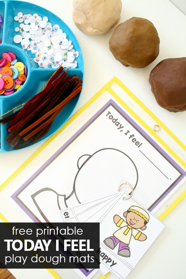 Free printable Today I Feel play dough mats for learning about emotions in preschool and kindergarten #preschool #emotions #feelings #freeprintable