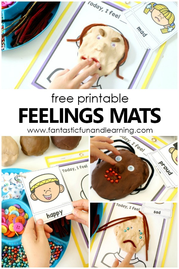 Free printable feelings mats and emotions activities for preschool and kindergarten
