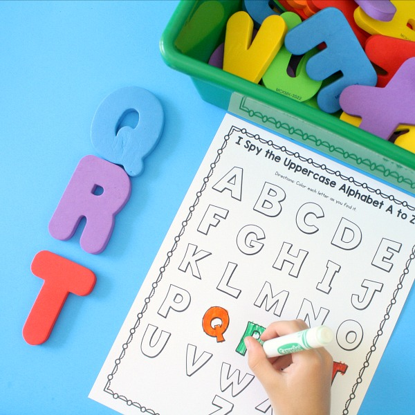 I Spy Alphabet Activity-Coloring Page for Preschool and Kindergarten