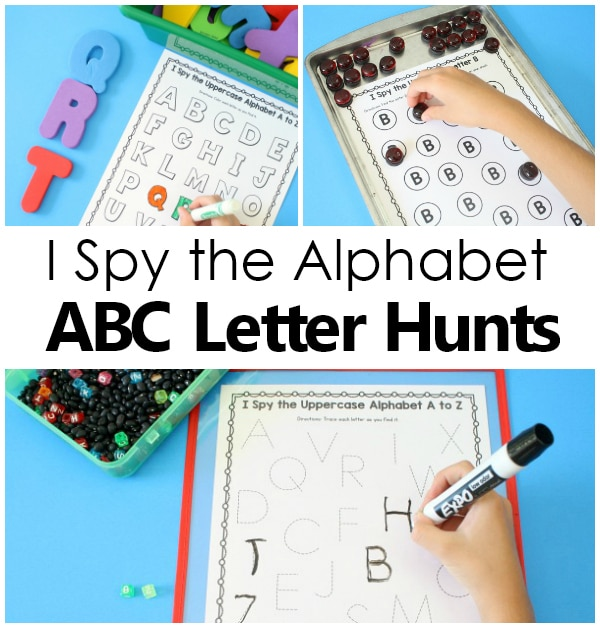 I Spy ABC alphabet printables for preschool and kindergarten
