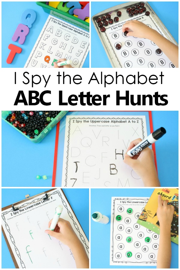 I Spy the Alphabet ABC Letter Scavenger Hunt ABC games for Preschool and Kindergarten...great for literacy centers, read the room, write the room, and more to help teach the ABCs. #preschool #kindergarten #alphabet