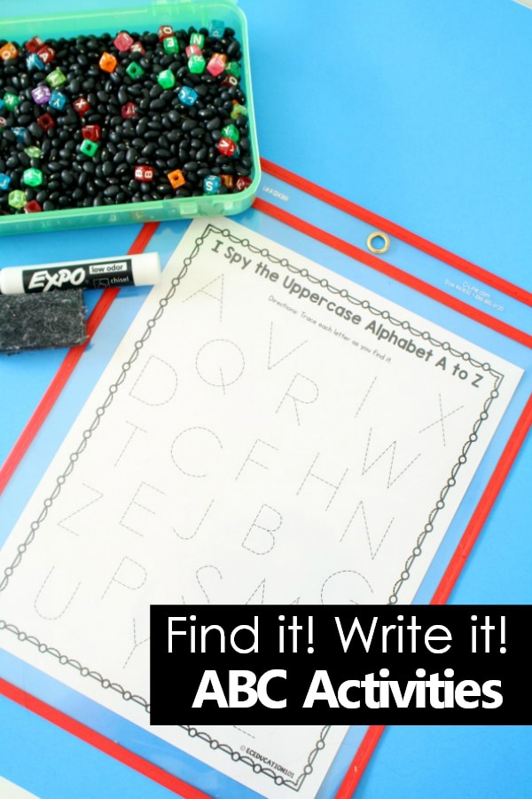 I Spy the Alphabet Literacy Center Activity with Find It Write ABC Activities Printable for Preschool and Kindergarten #preschool #kindergarten #printable #alphabet
