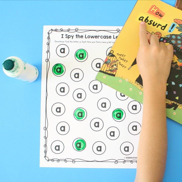 I Spy the Letters Dot It Recording Sheets for Preschool and Kindergarten