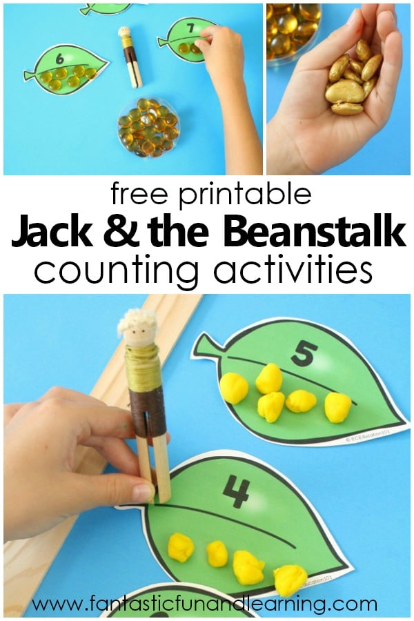 Jack and the Beanstalk Preschool and Kindergarten Counting Activities. Free printable to use for counting, creating sets, comparing and more. #preschool #kindergarten #freebie