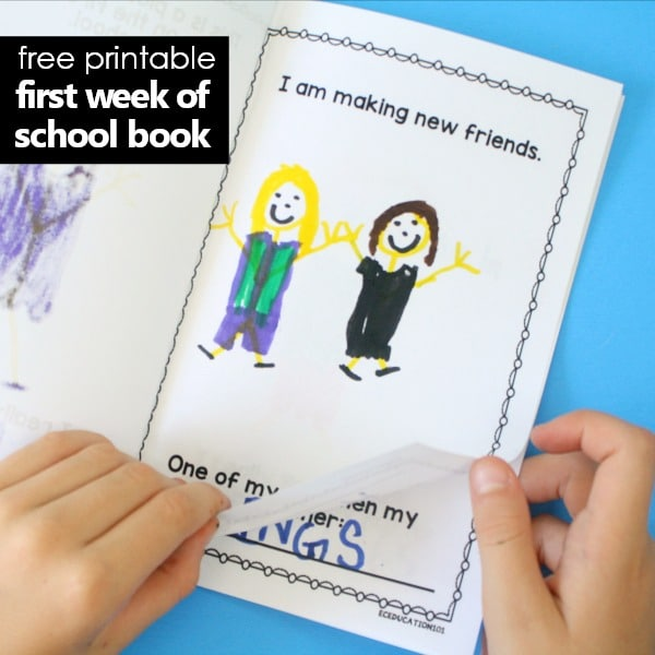 free printable first week of school book for kids