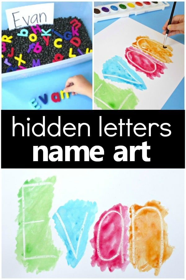 Hidden Name Art Preschool Name Activity-Sensory play and name craft for preschool and kindergarten #preschool #kindergarten #alphabet