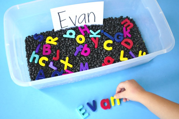 Hidden Name Sensory Bin Preschool