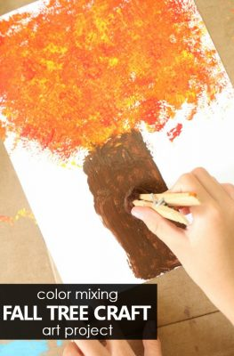 Color Mixing Fall Tree Craft for Kids
