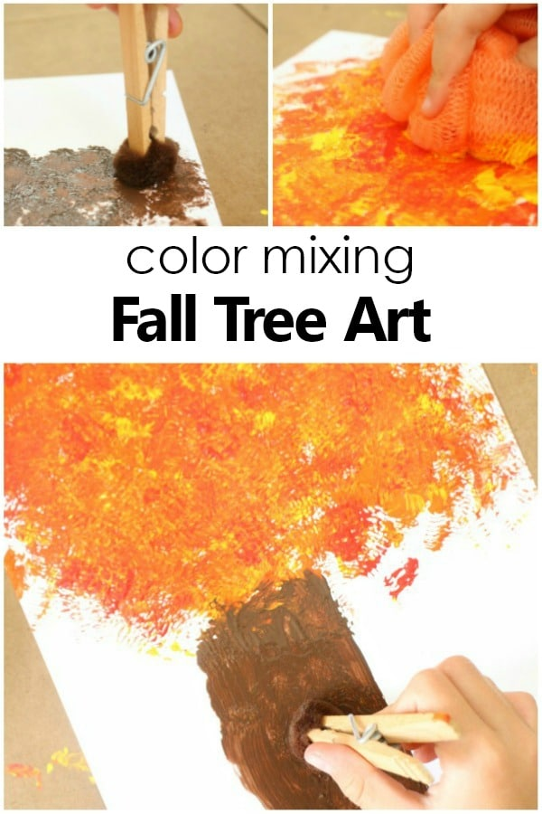 Color Mixing Fall Tree Craft for Kids. Autumn Art Project #preschool #kidsactivities #autumn