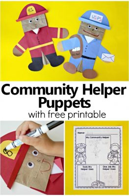 Community Helper Puppets-Preschool and Kindergarten Community Helper Activities with free printable writing response #preschool #kindergarten #freebie