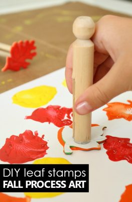 DIY Fall Art Stamps for Kids Preschool Process Art for Fall Art Projects for Kids #preschool #fall #art
