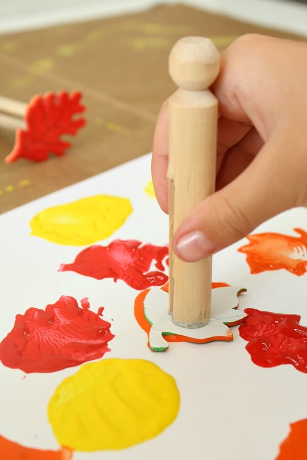 DIY Fall Leaf Stamps for Kids