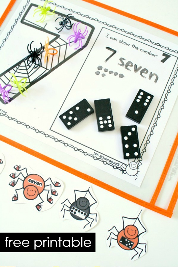 Hands-on Halloween Spider Theme Counting Numbers Game Freebie #preschool #math #counting #kindergarten