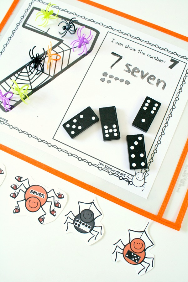Hands-on Halloween Spider Theme Counting Numbers Game Freebie