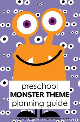 Preschool Monster Theme Activities-Planning guide for preschool monster theme. Lesson plans, songs, free printables and more #preschool #monsters #halloween