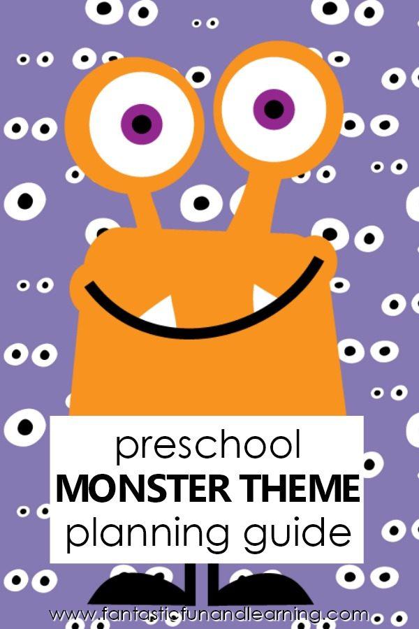 Preschool Monster Theme Activities-Planning guide for preschool monster theme. Lesson plans, songs, free printables and more #preschool #monsters #halloween