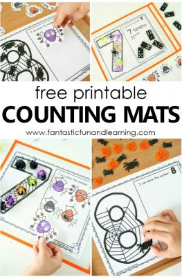 Spider Counting Numbers Printable Mats Halloween Math #preschool #kindergarten #freeprintable #counting